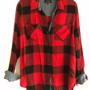 Lucky Brand Red and Black Flannel
